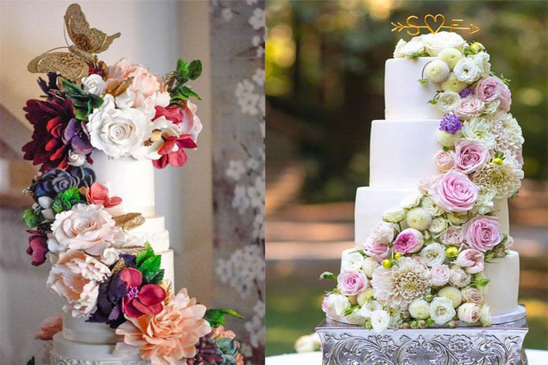 Tạo điểm nhấn tuyệt vời với những mẫu bánh kem hoa khi đặt tiệc cưới